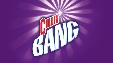 Cillit bang logo on a purple background
