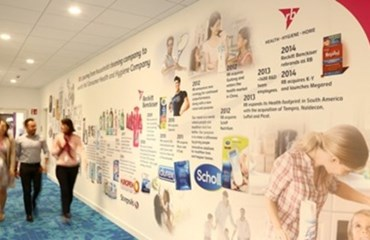 RB employees walk down a corridor with a company timeline on the wall