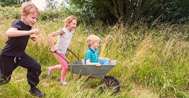 Two children running through a grassy field pushing younger child in wheelbarrow